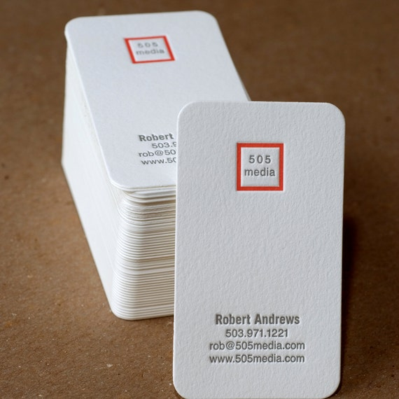 Letterpress Business Card Set : Modern Square Personalized Calling Cards - 100 w custom text, monogram, & ink color choice