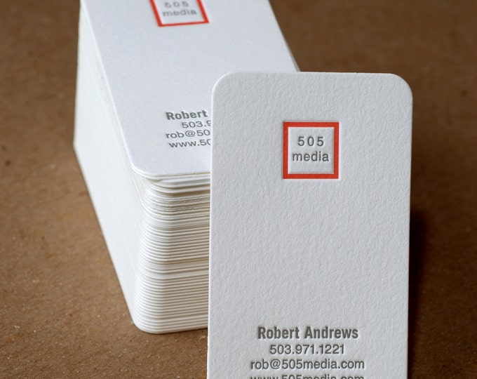 Letterpress Business Card Set : Modern Square Personalized Calling Cards - business cards w custom text, monogram, & ink color choice