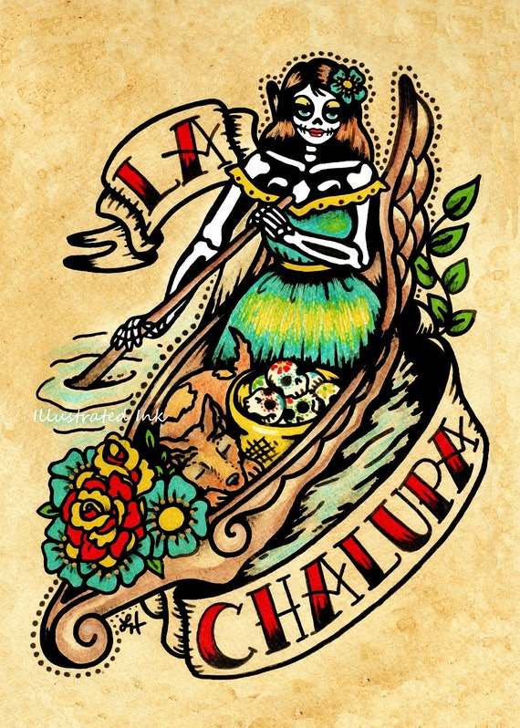 Day of the dead tattoo art la chalupa loteria print 5 x 7 8 x for Old school day of the dead tattoo
