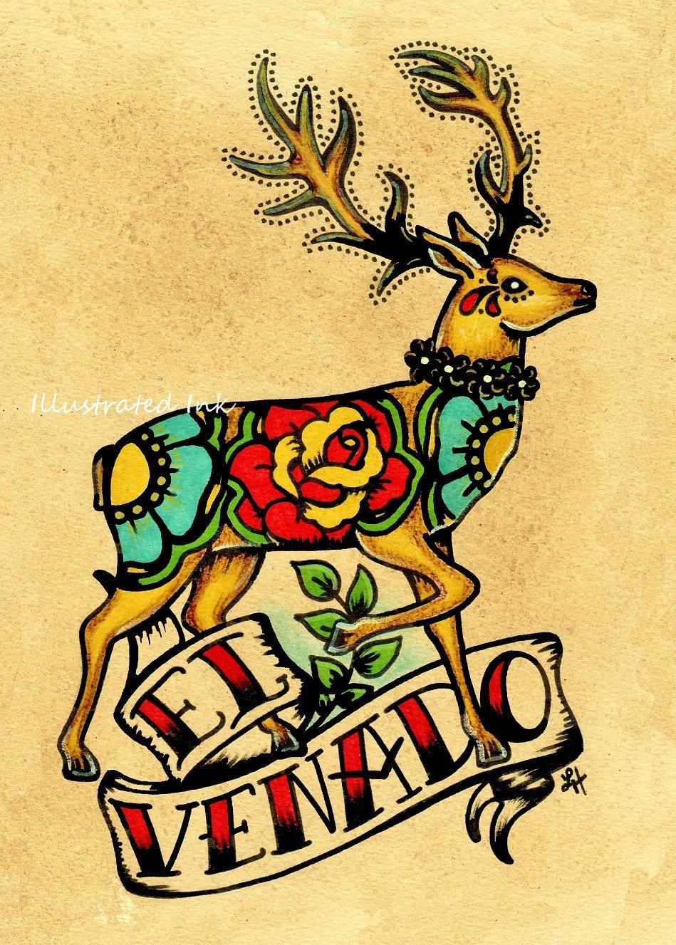 mexican folk art deer el venado loteria print 5 by illustratedink. Black Bedroom Furniture Sets. Home Design Ideas