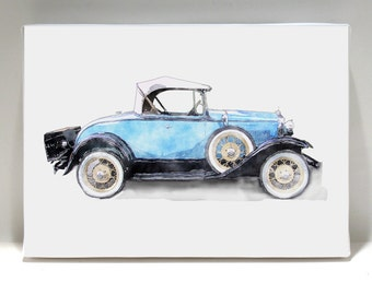 Vintage Car Art  - Car Print - Vintage Roadster Art -Canvas Print on 5x7 Art Block - Vroom Vroom Vroom  - Kids Room Decor - Wall Art