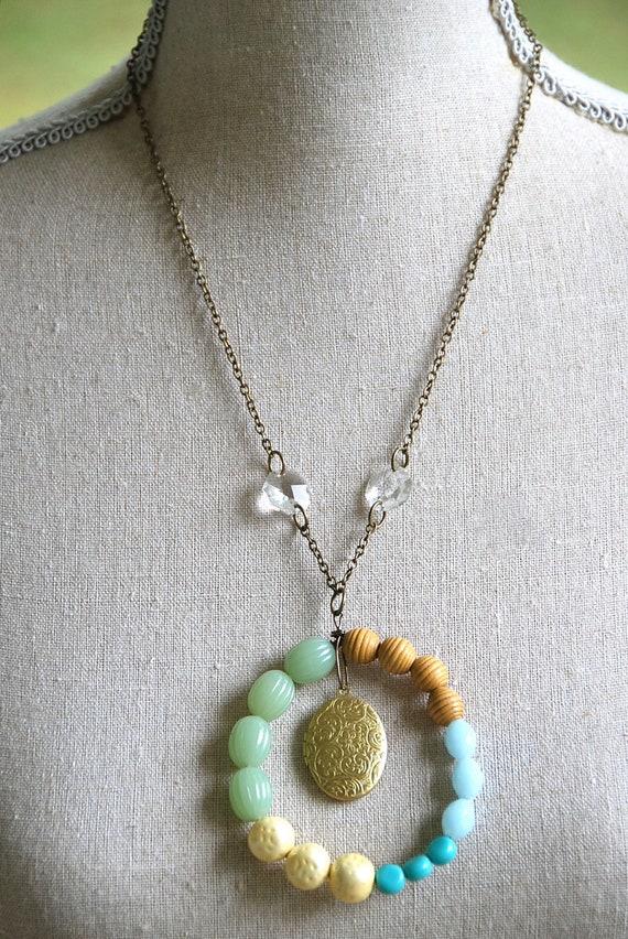 Jackie O. vintage beaded ,crystal ,locket  necklace.Tiedupmemories