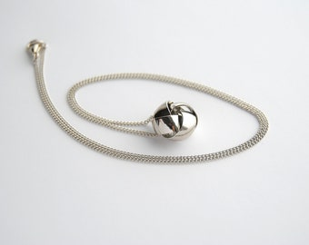 Classic Silver Knot Necklace. Vintage Love Knot Charm. Short Silver Chain. Modern Vintage. Dainty Simple Cute Pendant. FREE Shipping in US