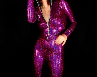 Electric Fuschia Holographic Hooded Bodysuit Madness