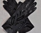 Vintage Cut-out Black Leather Gloves, Small