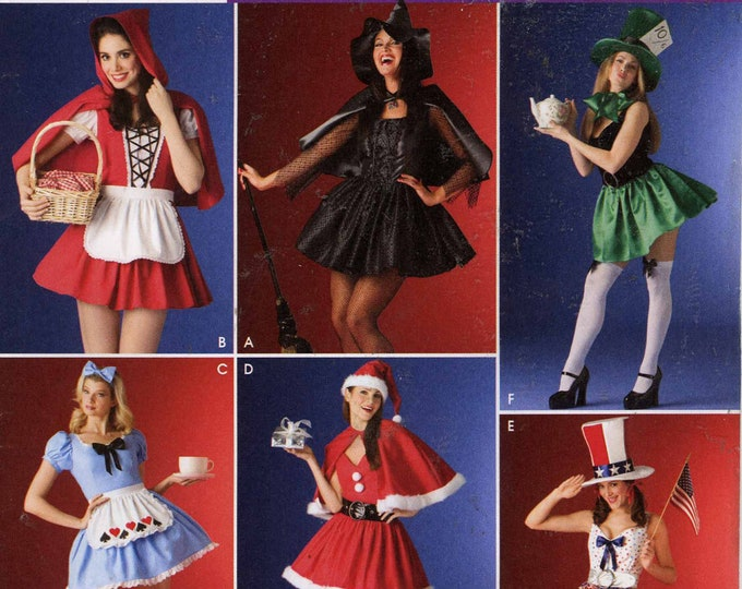 Independence day Costume sewing pattern Simplicity 4015 Santa Elves Red Riding Hood Witch Mad Hatter Alice Wonderland Sz 10 to 16 UNCUT