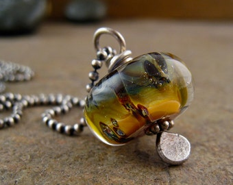 Boro Lampwork Necklace with Oxidized Sterling Silver Chain, Handmade Glass Bead Necklace, Olive Green, Gold, Amber Bead