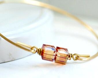 Bangle Bracelet, Swarovski Elements, Crystal Bracelet, Stacking Bracelet, Brass Bangle, Minimalist Jewelry, Topaz, November Birthstone Color