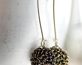 Brass Earrings, Mixed Metal Earrings, Tangled Earrings, Long Dangle Earrings, Floral Inspired Jewelry, Elegant Earrings, Simple Earrings