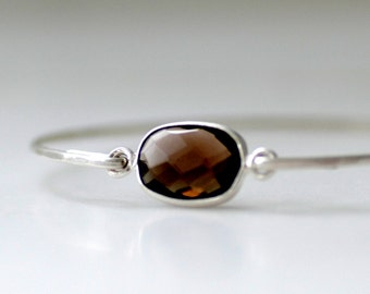 Gemstone Bracelet, Smoky Quartz Bracelet, Bangle Bracelet, Stacking Bracelet, Semi Precious, Silver Bangle, Modern Minimalist Jewelry