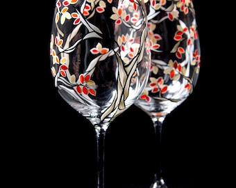 Hand Painted Wine Glasses - Black and White Trees with Fall Leaves - Set of 2 Painted Glasses