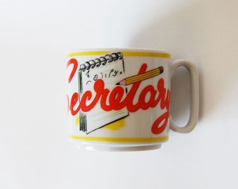 vintage 1980s novelty SECRETARY mug coffee cup