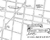 Queen Village Hand-Drawn Map Philadelphia