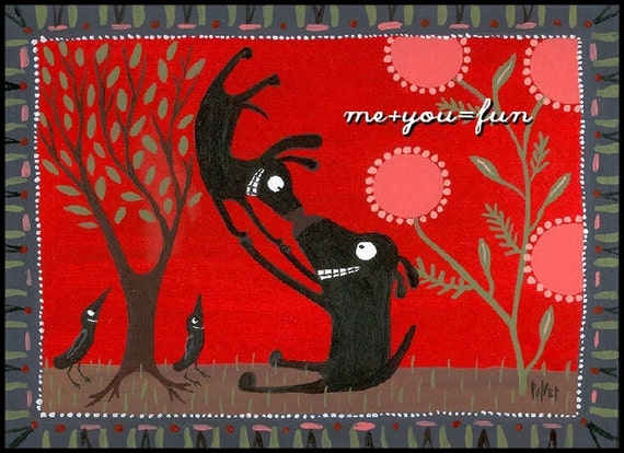 Funny Dog Card - Valentines Day / Anniversary / Love - Me Plus You Equals FUN - Whimsical Black Labs - for Love or Friend
