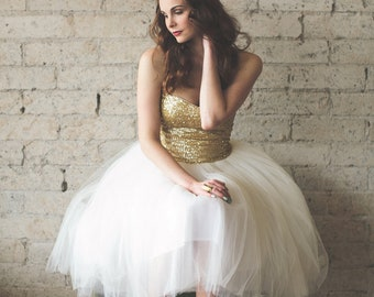Gold Sequin Sweetheart Strapless Tea Length Ivory and White Tulle Party Dress - Étoile by Ouma