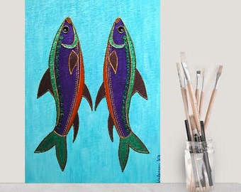 "Fishes 2... original painting, 11.8x15.7"", 30x40 cm, acrylic, painting board, fish, ocean, sea, fantasy"