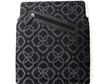 Black iPad Case or Sleeve with Kisslock Frame - iPad Case or Clutch - Notebook Clutch - Silver and Black Flower Polyester Print