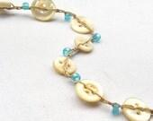Sale - Crochet Bracelet - Linen Crochet - Mother of Pearl - Button Bracelet - Turquoise Sea Glass