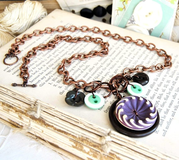 Button Necklace Buffed Celluloid Purple Charm Necklace Vintage Buttons Chocolate Olive Camille