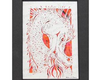 Dragonfire Papercutting- Handcut original