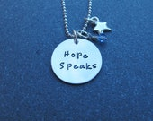 Hand Stamped Jewelry Sterling Silver Hope Speaks Apraxia Awareness Jewelry