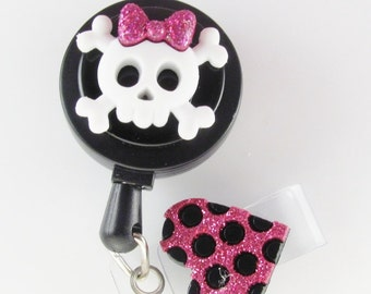 Girly Skull Badge Reel, ID Badge Holder, punk badge reel, retractable reel