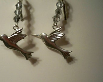 Hummingbird Earrings with Silver Crystal Beads Also Available with Gold Hummingbirds and Gold Crystal Beads