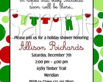 Custom Printable Christmas Baby Shower Invitation