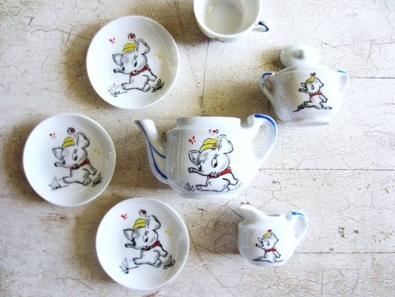Vintage Dumbo Toy Tea Set Japan Miniature