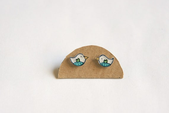 Bird earrings, Small birds jewelry, Illustrated earring studs