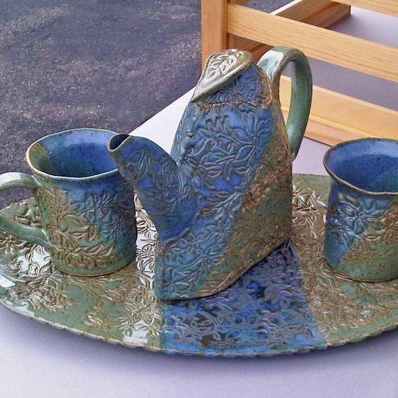 Tea Set with Woodland Wildflower Design in Jade Green & Cornflower Blue