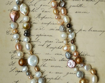 Amaya, necklace with double strand of beautiful pearls