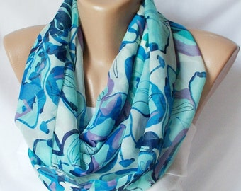 Infinity Scarf, Loop Scarf, Circle Scarf...Blue Life....Chiffon... Scarf...Blue, Black and Grey