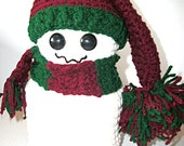 Christmas Snowman Toilet Paper Cover, burgundy and forest green