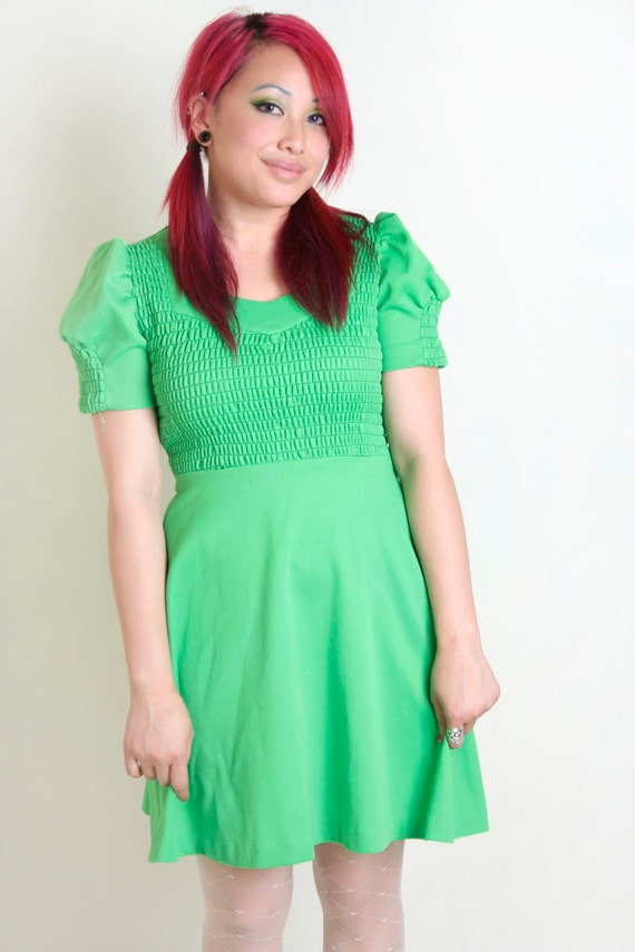 1970s Mini Dress in Neon Lime Green - Smocked Dolly Dress - Small