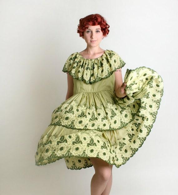 Vintage Floral Dress - 1960s Olive Green Garden Party Layered Dress - Large