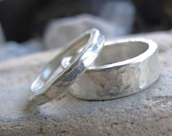 London Calling His and Hers engagement rings weddings band promise rings  in recycled sterling silver