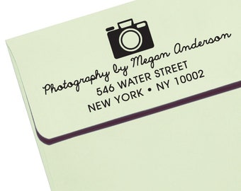 CUSTOM ADDRESS STAMP  - new - Eco Friendly & self inking, photographers or photography events, return address stamp stamper Photographer 1