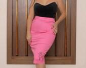 Oh La La Pink Poodle pencil skirt rockabilly kitsch pinup retro 50's Vixen -  XXL