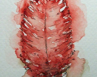 Feather Original Watercolor Painting 4