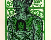 Green Tattoo Man Linocut Art Print