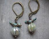 Bird Earrings, love birds, nature, woodland, forest, moss green