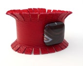 Red Hot Leather Fringe Cuff Bracelet, Handmade Leather Jewelry, Women's Leather Accessories