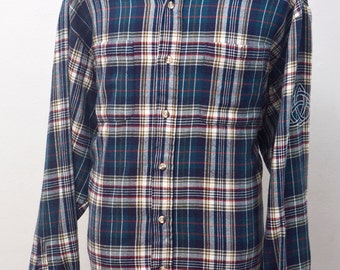 Men's Flannel Shirt / Upcycled Plaid with Screen Printed Celtic Knot / Size XL