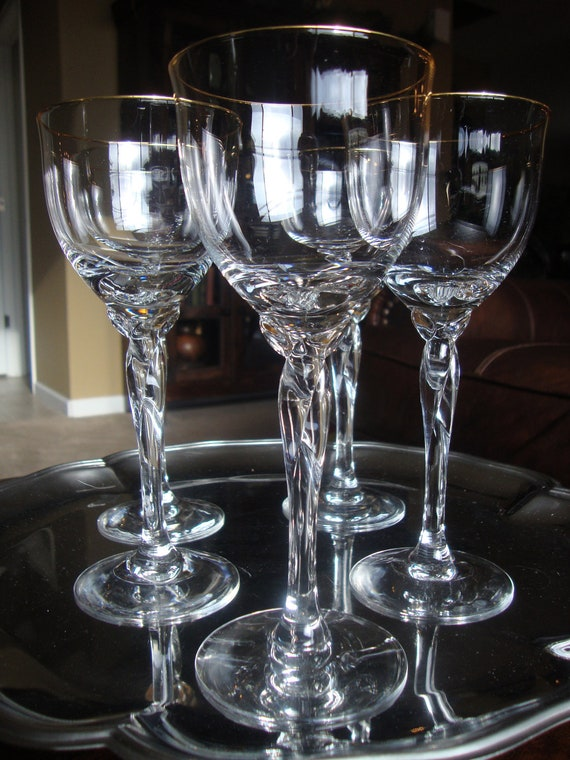 Set of 6 lenox crystal gold rim trim wine glass unity by tycaalak - Lenox gold rimmed wine glasses ...