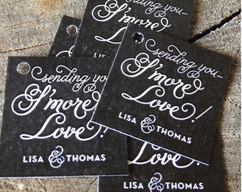Chalkboard Style S'more Wedding Favor Tags - Thank you tags - Sending S'more Love Wedding Gift Tags - Set of 50