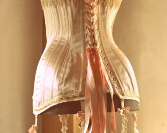 Edwardian Corset, Wedding Lingerie, Edwardian Clothing with Garters, Historical Costume, Peach