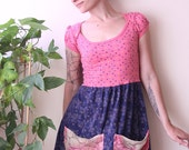 SALE 30% pink babydoll tshirt refashion dress with lace pockets