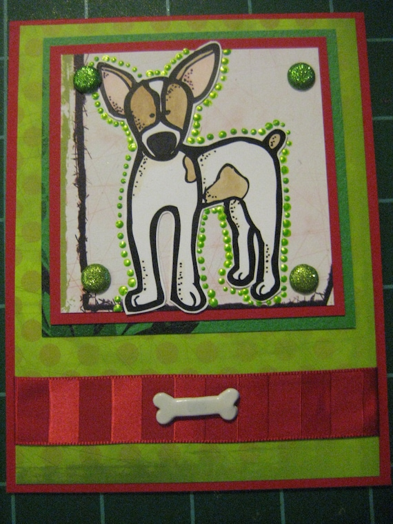 Polka Dots and Chewy Bones, Bright bRats Set of 5 Vibrant Feist Cards with Env, Rat Terriers, Jack Russells, Parson Russells, Chihuahuas,