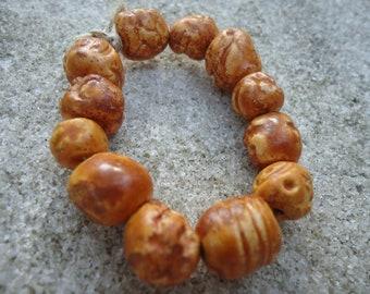 12 Pumpkin Glazed Stoneware Beads